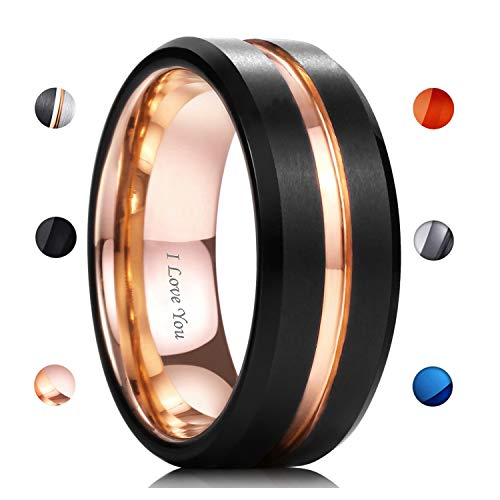 - WASOLIE Tungsten Carbide Wedding Ring Engagement Band for Men Women Rose Gold Blue Black Matte Brushed Comfort Fit 8mm