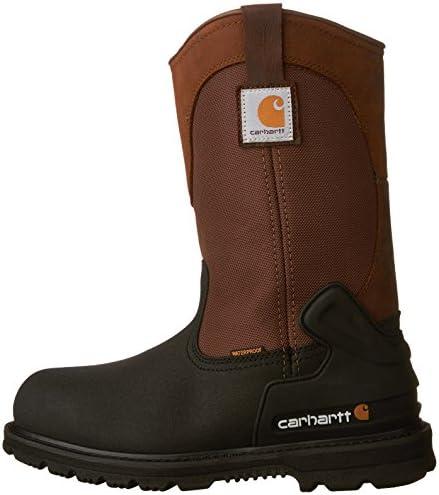 """Carhartt Men's 11"""" Wellington Waterproof Steel Toe Leather Pull-On Work Boot CMP1259"""