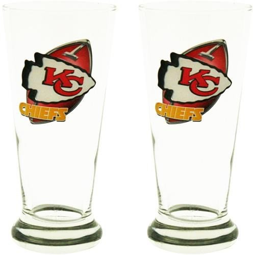 12 Oz Flared Pilsner Glass (Kansas City Chiefs Two Pack 12-Ounce Flared Pilsner)