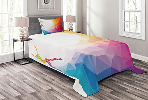 Ambesonne Sports Bedspread Set Twin Size, Gymnastics Girl Gymnast Portrait Colored Geometric Digital Shapes Modern Olympics, Decorative Quilted 2 Piece Coverlet Set with Pillow Sham, White Ruby]()