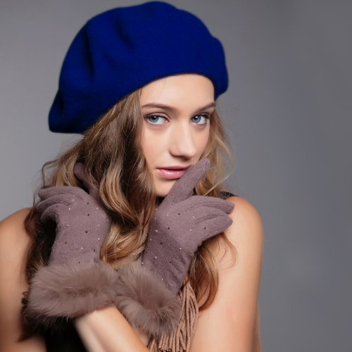 Fashion Women Felt French Beret Beanie Hat Cap Tam Hot (dark blue01) by N/A GorgeousCC