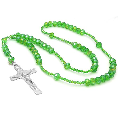 (Mens Hip Hop 8mm Fully LIME GREEN Crystal Beaded Rosary Jesus Cross Necklace 1)