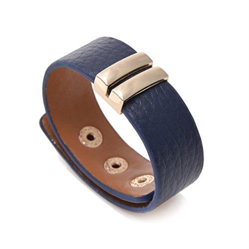 ZX Jewelry Blue Leather Wrap Belt Buckle Bracelet for Women Girls Bangles