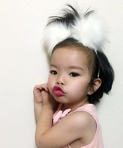Kids Furry Headband, Fun Pom Pom Headband for Toddlers, Cute Girls Fuzzy Pom Pom Headband, Children's White Headband ()
