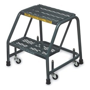 Rolling Ladder Steel - Ballymore 226P Steel Standard Rolling Ladder with Spring Loaded Casters without Handrails, Perforated Step Tread, Unassembled, OSHA/ANSI Standard, 2 Steps, 24