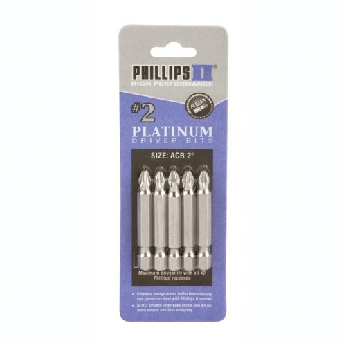 (3-80202) #2 Phillips with ACR Bit 2' 6pk Phillips Fastener