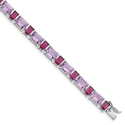 Bracelet Rhodolite Amethyst (925 Sterling Silver Rhodium-plated Polished Amethyst & Rhodolite Garnet Tennis Bracelet 7.5
