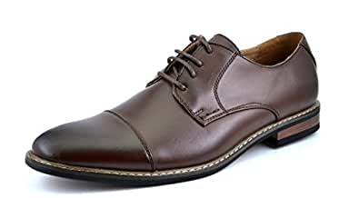 Bruno HOMME MODA ITALY PRINCE Men's Classic Modern Oxford Wingtip Lace Dress Shoes,PRINCE-6-DK.BROWN,6.5 D(M) US