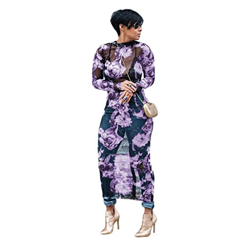(Eshinny Womens Sexy Floral Print See Through Mesh Bodycon Party Dress Plus Size Clubwear Purple)