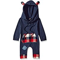 Albee Yang Newborn Infant Baby Boys Girls Hooded Clothes Long Sleeve Plaid Romper Sweatsuit Patch Hoodie with Pocket 0-24M