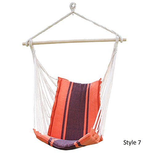 Joveco Cotton Fabric Hanging Swing Hammock Chair High Back Deluxe Style