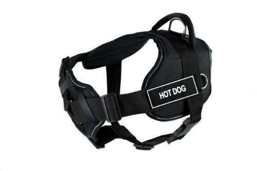 Dean & Tyler New DT FUN Dog Harness With Padded Chest Piece With 3 Straps, Reflective Trim Size  Medium (Will Fit  71cm 86cm) with HOT DOG Velcro Patches, Black White