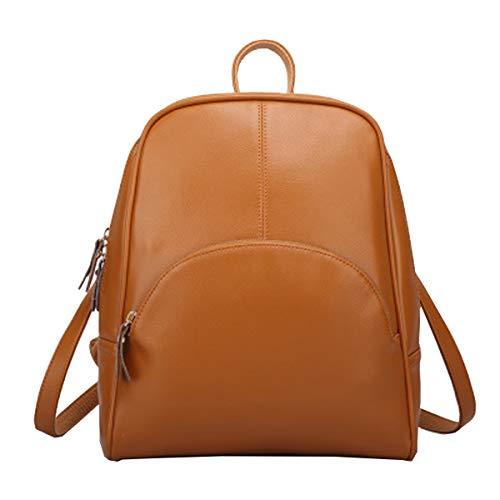 La Femenina Leather Multifunción Viaje Mochila Hjly Bolsa Cuero De Amarillo xwH0Cq04dX