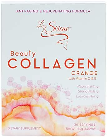 Orange Beauty Collagen (Marine) - with Vitamin C, E, CoQ10 and Pre-Biotic's - Premium Supplement Powder - Made in Japan