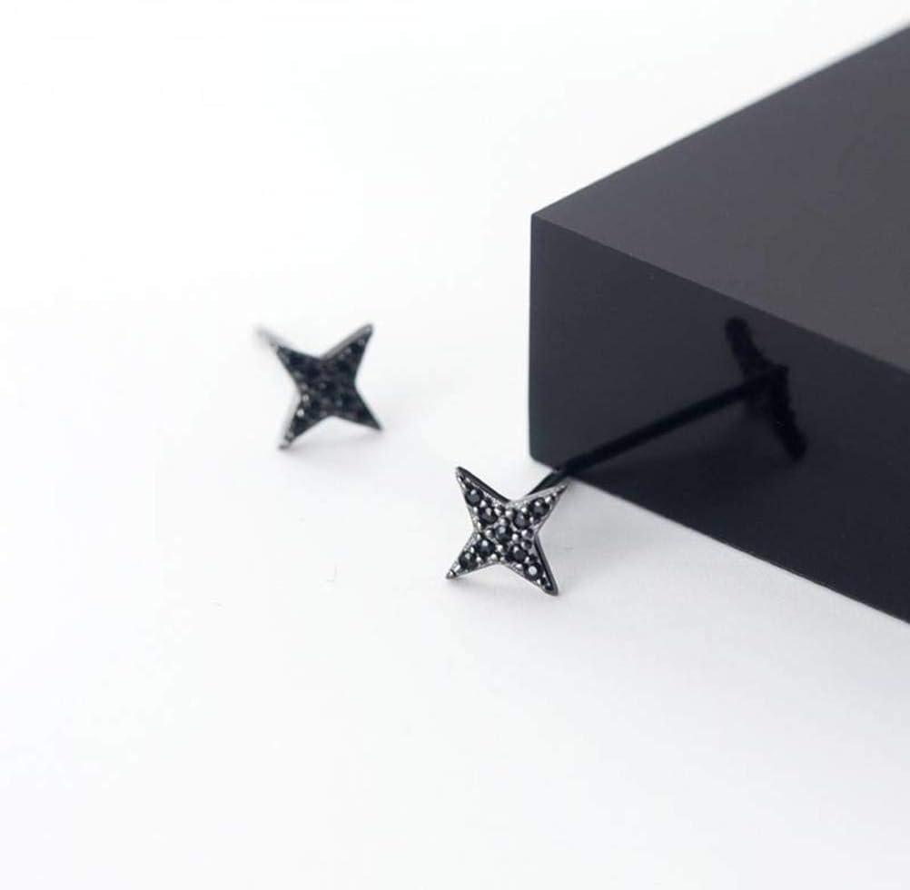 WOZUIMEI S925 Pendientes de Plata Mujer Coreana Minimalista Personalidad Oreja Joyería Diamante Negro Esquinas Estrellas Joyeríaun par, Plata 925