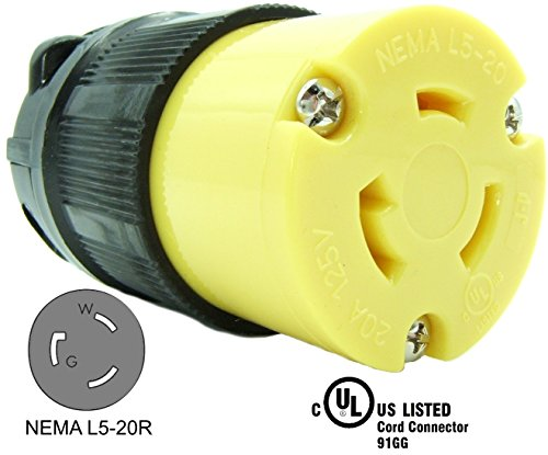 Journeyman-Pro 2313 20 Amp, 125 Volt, NEMA L5-20R, 2P, 3W, Locking Female Plug Connector, Black Industrial Grade, Grounding 2500 Watts Generator Rating (L5-20R Female Plug)