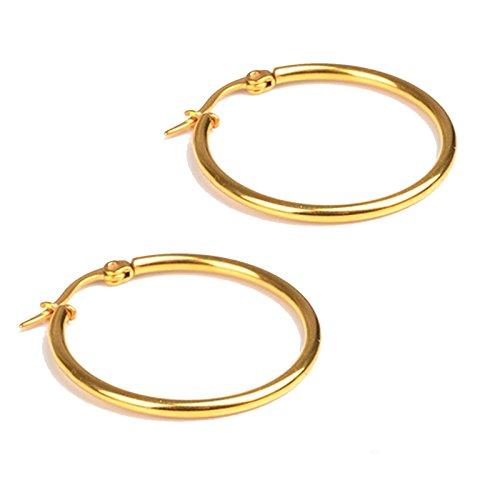 Easy My Little Pony Adult Costumes (Beydodo 1 Pair Stainless Steel Hoop Earrings Womens Mens Earrings Gold 55MM Ear Piercing Earring)
