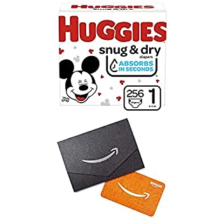 Huggies Snug & Dry Baby Diapers, Size 1, 256 Ct, One Month Supply (2Pack) with Gift Card