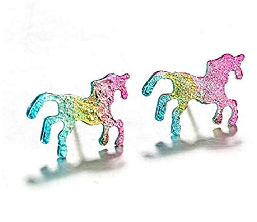 LOSOUL Gradient Color Pony Stud Earring Cute Lovely Tiny Pink Bule Unicorn Animal Earrings for Women