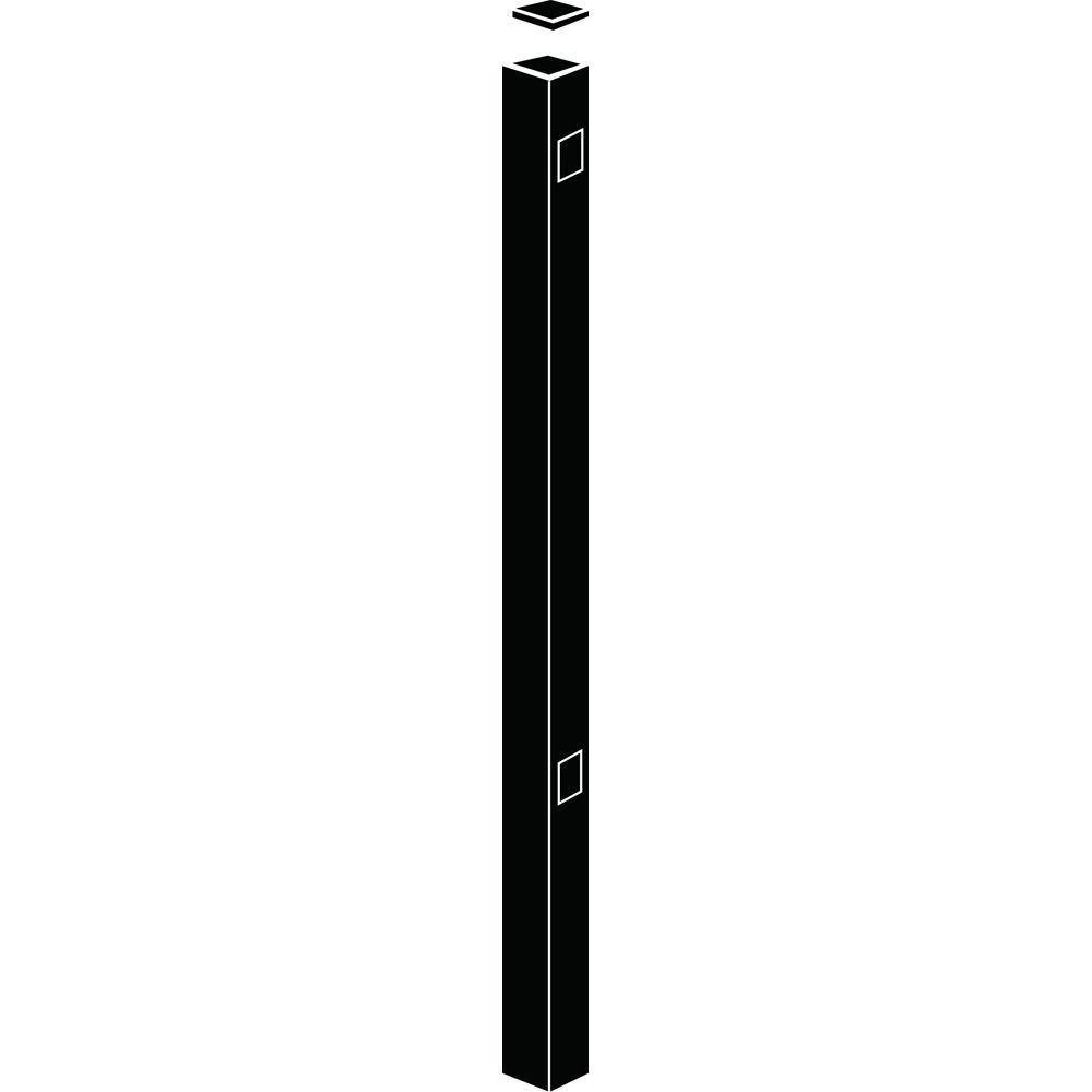 Allure Aluminum 2 in. x 2 in. x 5-5/6 ft. Metropolitan Black Aluminum Fence End/Gate Post