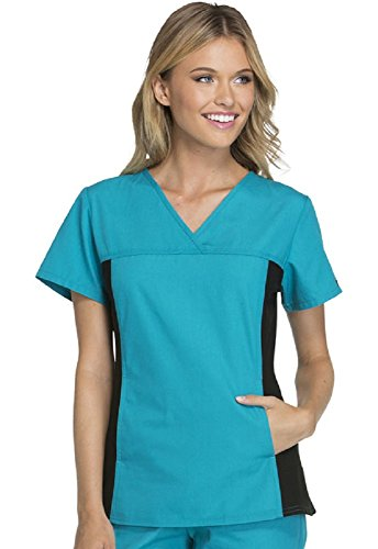 Cherokee Flexibles Women's V-Neck Solid Scrub Top X-Large Teal Blue