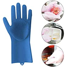 Feileng Magic Silicone Cleaning Brush Scrubber Gloves Heat Resistant,for Dish wash, Cleaning,