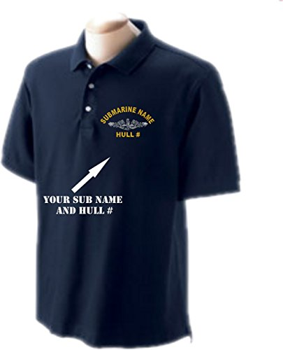 USS Perch SS-313 Embroidered Submarine Golf Shirt Sizes Small-4X