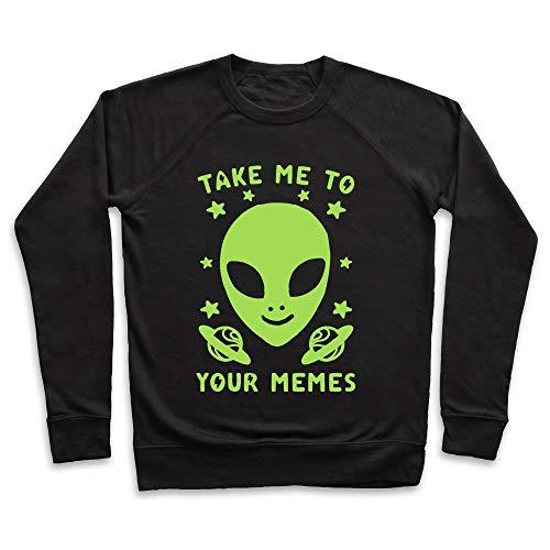 LookHUMAN Take Me to Your Memes Medium Black Unisex Crewneck Sweatshirt