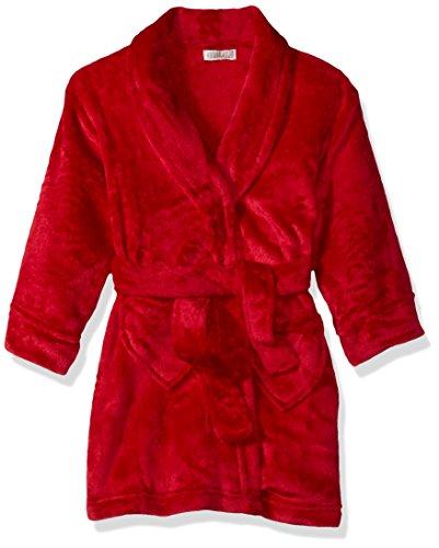 (Komar Kids Girls' Big Velvet Fleece Plush Robe, red, X-Large)