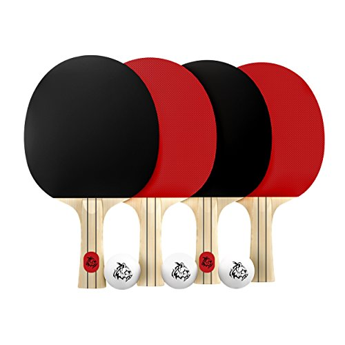 BeLegend Ping Pong paddle set (4 rackets, 3 ping pong balls and case) - Pro level ping pong table tennis set by BeLegend