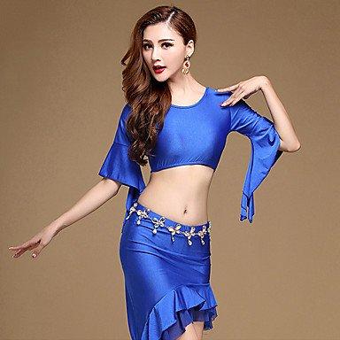 DESY Danza del Ventre Completi da esibizione Elastene Plissettato 2 Pezzi Mezza Manica Naturale Gonna giaccaTop M:31cm/L:32cm,Skirt, l kuoshaoye