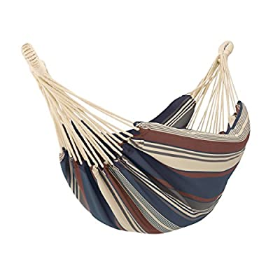 "Classic Accessories Montlake FadeSafe Brazilian Hammock, Heather Indigo Multi-Stripe - Hammock bed size is 82"" long x 58"" W, full length including ropes is 148"" Maximum weight capacity 450 lbs/200 kg One-year limited warranty - patio-furniture, patio, hammocks - 41SJ2o1MNTL. SS400  -"
