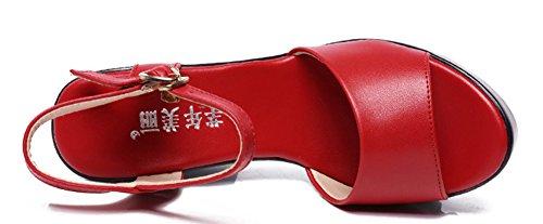 Femme Bouche Boucle Aisun Avec Classique Ouvert Sandales Rouge Plateforme Fqxf1wfd