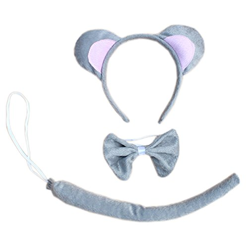 Kids Animals Dalmatian Mouse Wolf Tiger Antlers Party Costume Christmas Headband (Grey Mouse) (Reindeer Baby Costume)