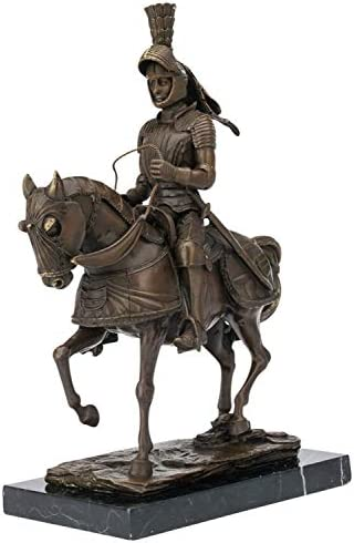 27 x 24 x 9 cm ky419 Prunkvolle Bronzefigur Ritter auf Pferd mit Streitaxt ca