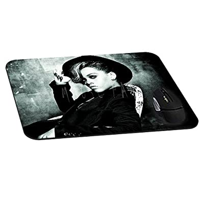 Rectangle Gaming Mouse Pad Mat DIY Pattern Mouspad Rubber Base Mousepads Waterproof Fade Resistant Dark Photos Rihanna Artist Star