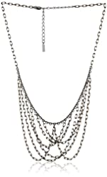 "Signature 1928 ""1928 Midnight Gold"" Mixed Jet Gold Tone Chain Bib Necklace, 16"""