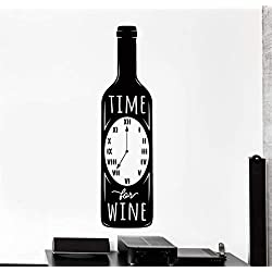Uggia Wall Sticker Lettering Quotes and Saying Kitchen Quote Time to Drink Wine Home Restaurant Home Time for Wine with Clock Label