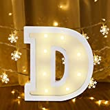 26 Alphabet Letter Lights Sign LED Light Up White Plastic Marquee Letters Standing Hanging for Night Light Wedding Birthday Party Battery Powered Christmas Lamp Home Bar Festival Decoration (D)