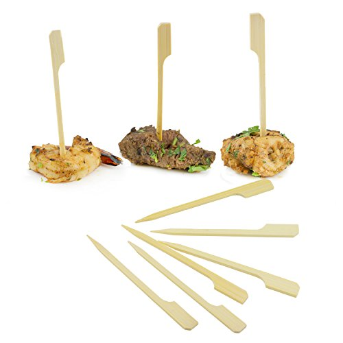 Houseables Bamboo Skewers, Appetizer Picks, Paddle Sticks, Toothpicks, 2000 Pcs, 3.5 Inch, Flat, Mini, Natural, Extra Sharp, BBQ Skewers, For Food, Barbecue Grill, Party, Sandwich, Kabob, (Food And Wine Halloween Cocktails)