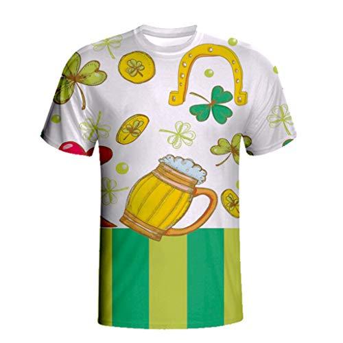 VigorY Irish Green Clover Heart St. Patricks Day Short Sleeve Baseball Jersey Shirt 3D Print Casual Shirt Top Blouse