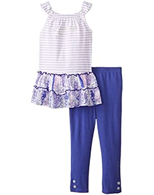 Baby Girls' White Tunic with Blue Leggings
