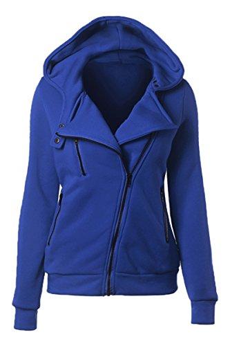 YMING Women's Oblique Zip Hand Pocket Fleece Hooded Sweatshirt Hoodie Jacket Royal Blue S