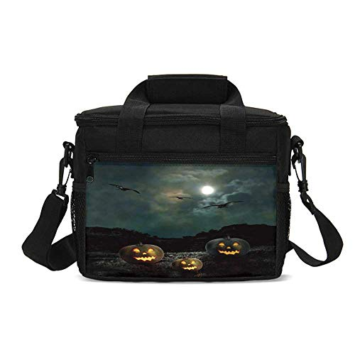Halloween Durable Lunch Bag,Yard of an Old House at Night Majestic Moon Sky Creepy Dark Evil Face Pumpkins Decorative for Picnic Travel,9.4