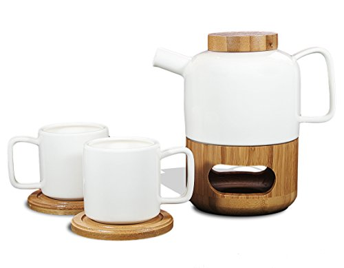 Tea Branch - Naomi Ceramic Tea Set For 2, Modern Teapot 20 oz, Bamboo Stand, 2 Tea Cups, 2 Bamboo Coasters, Tea Pot Infuser, Anniversary Gift, Couples Gifts, Tea Set For Two, White