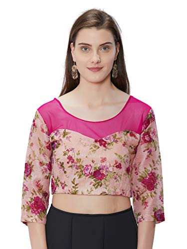 Sourbh Women's Peach Floral Printed Art Silk and Net Blouse Round Neck Top(Peach,XXXXL)