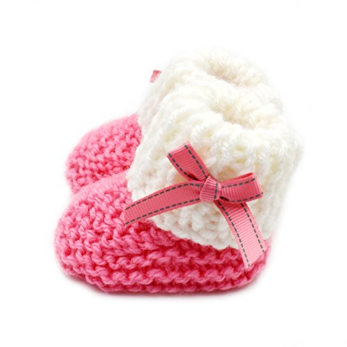 Pictures of Magic Needles Hand Knit Crochet Turkish Yarn Baby Booties - 4070 (3-6 Mths Toe to Heel 11 cms) Pink/White 5