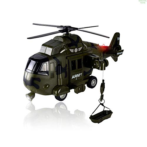 WolVol Military Helicopter - Solid Built Push & Go Chopper Toy with Lights & Sounds - Aids Hand-Eye Coordination for Kids Boys & Girls (Green) ()