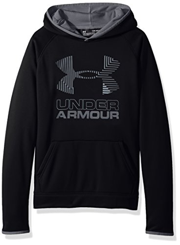 (Under Armour Boys SG AF Solid Big Logo Hoodie, Black /Steel, Youth Small)
