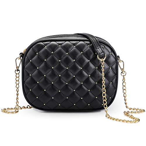 Newshows Small PU Leather Crossbody Bag with Metal Chain Strap for Women ()